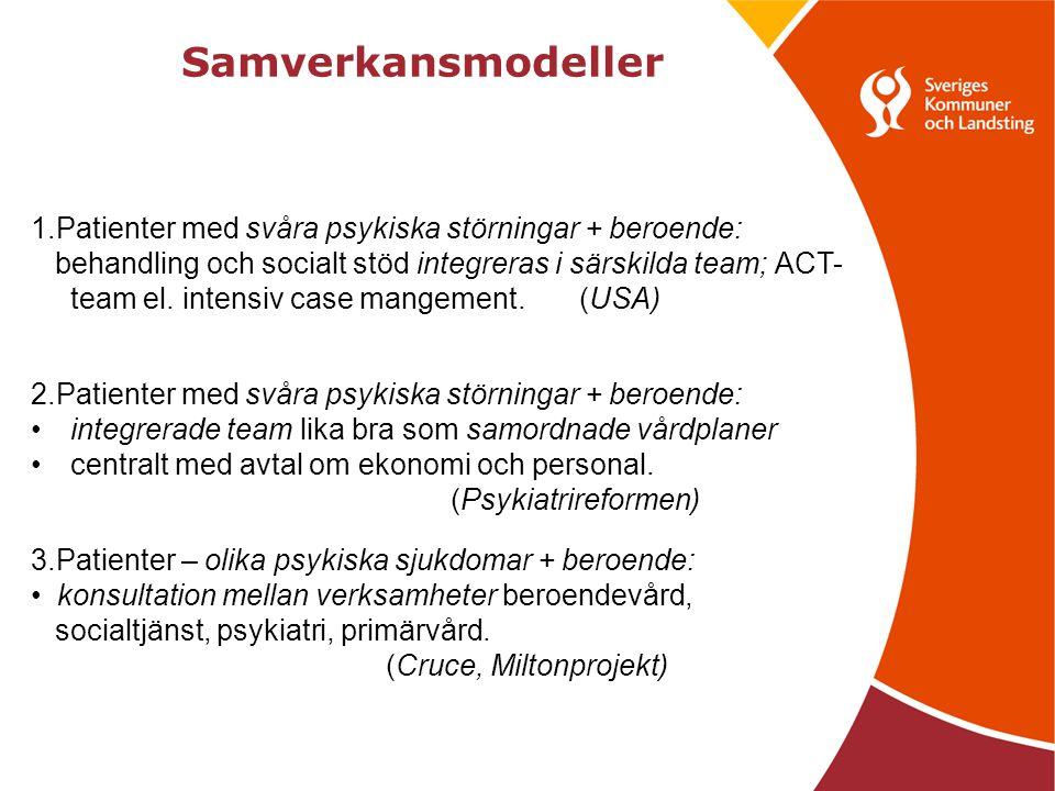 Samverkansmodeller 1.Patienter med svåra psykiska störningar + beroende: behandling och socialt stöd integreras i särskilda team; ACT- team el.