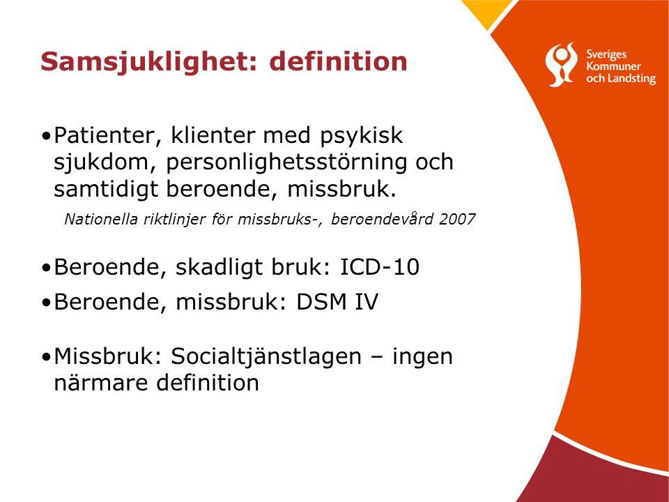 Samsjuklighet: definition Patienter, klienter med psykisk sjukdom, personlighetsstörning och samtidigt beroende, missbruk.