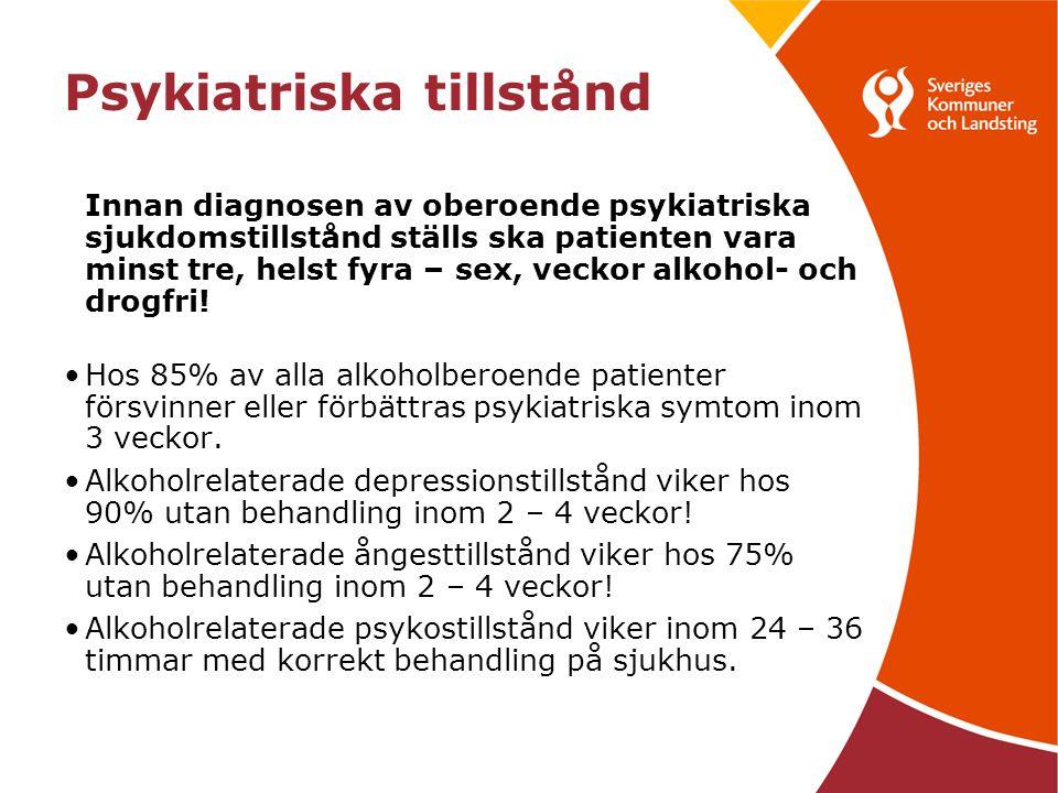 Psykiatriska tillstånd Innan diagnosen av oberoende psykiatriska sjukdomstillstånd ställs ska patienten vara minst tre, helst fyra – sex, veckor alkohol- och drogfri.