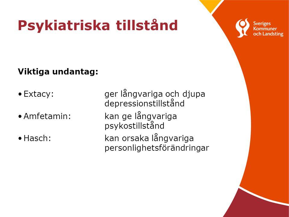 Psykiatriska tillstånd Viktiga undantag: Extacy:ger långvariga och djupa depressionstillstånd Amfetamin:kan ge långvariga psykostillstånd Hasch:kan orsaka långvariga personlighetsförändringar