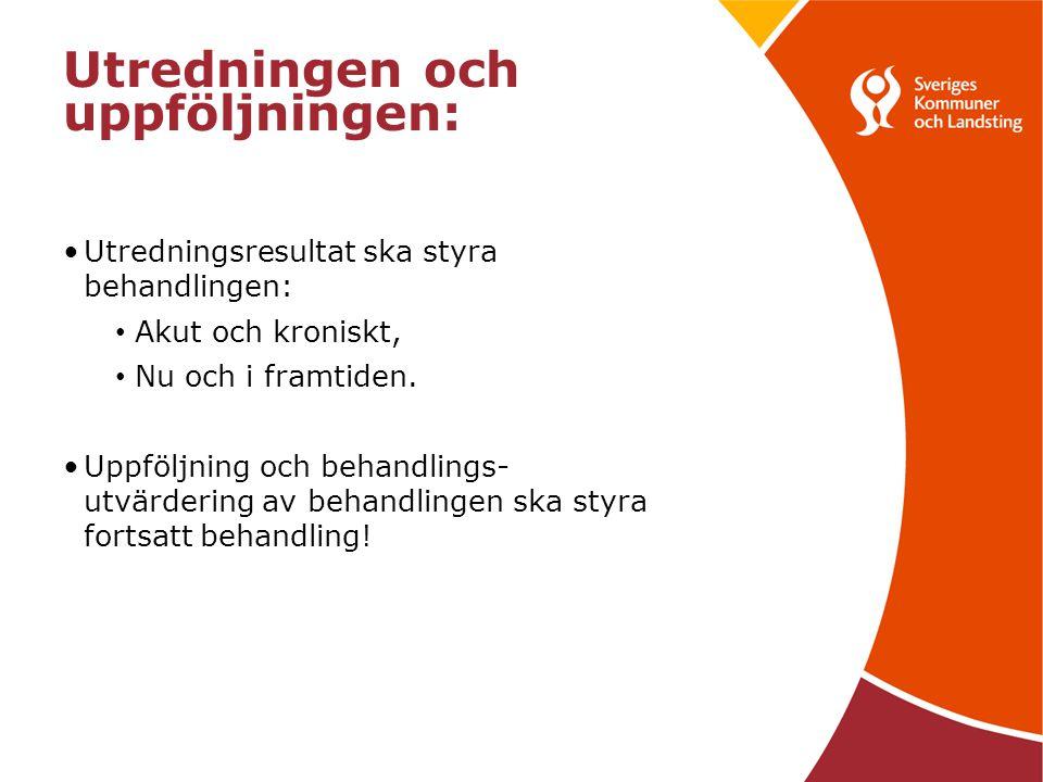 Utredningen och uppföljningen: Utredningsresultat ska styra behandlingen: Akut och kroniskt, Nu och i framtiden.