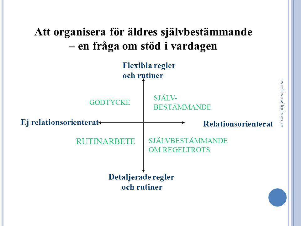 Flexibla regler och rutiner GODTYCKE RUTINARBETE Detaljerade regler och rutiner SJÄLV- BESTÄMMANDE Relationsorienterat Ej relationsorienterat SJÄLVBES