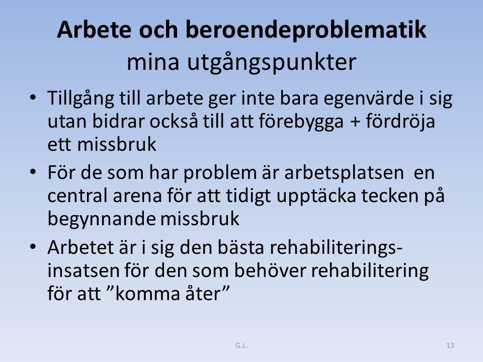 Arbete och beroendeproblematik mina utgångspunkter Tillgång till arbete ger inte bara egenvärde i sig utan bidrar också till att förebygga + fördröja ett missbruk För de som har problem är arbetsplatsen en central arena för att tidigt upptäcka tecken på begynnande missbruk Arbetet är i sig den bästa rehabiliterings- insatsen för den som behöver rehabilitering för att komma åter G.L.13
