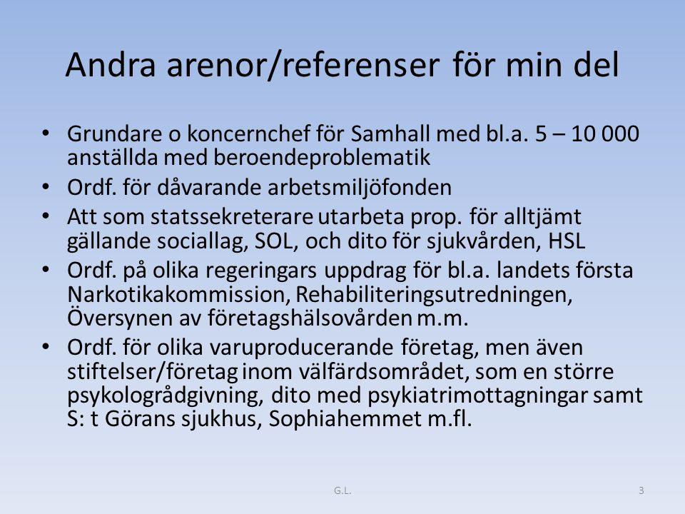 Andra arenor/referenser för min del Grundare o koncernchef för Samhall med bl.a. 5 – 10 000 anställda med beroendeproblematik Ordf. för dåvarande arbe