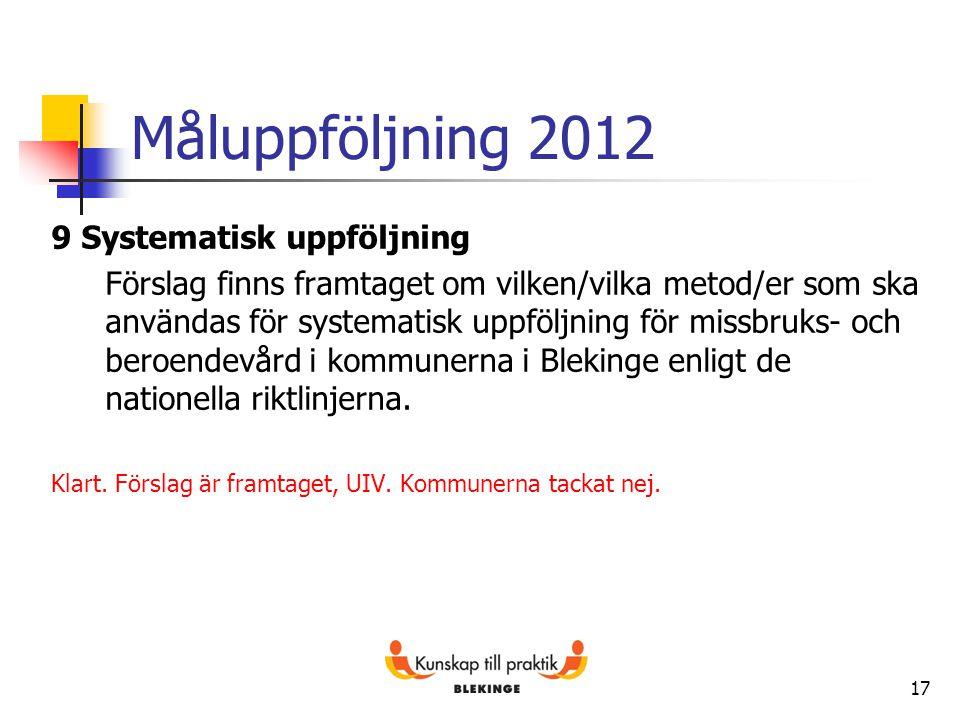 Måluppföljning 2012 9 Systematisk uppföljning Förslag finns framtaget om vilken/vilka metod/er som ska användas för systematisk uppföljning för missbr