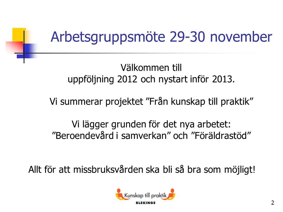 """2 Arbetsgruppsmöte 29-30 november Välkommen till uppföljning 2012 och nystart inför 2013. Vi summerar projektet """"Från kunskap till praktik"""" Vi lägger"""
