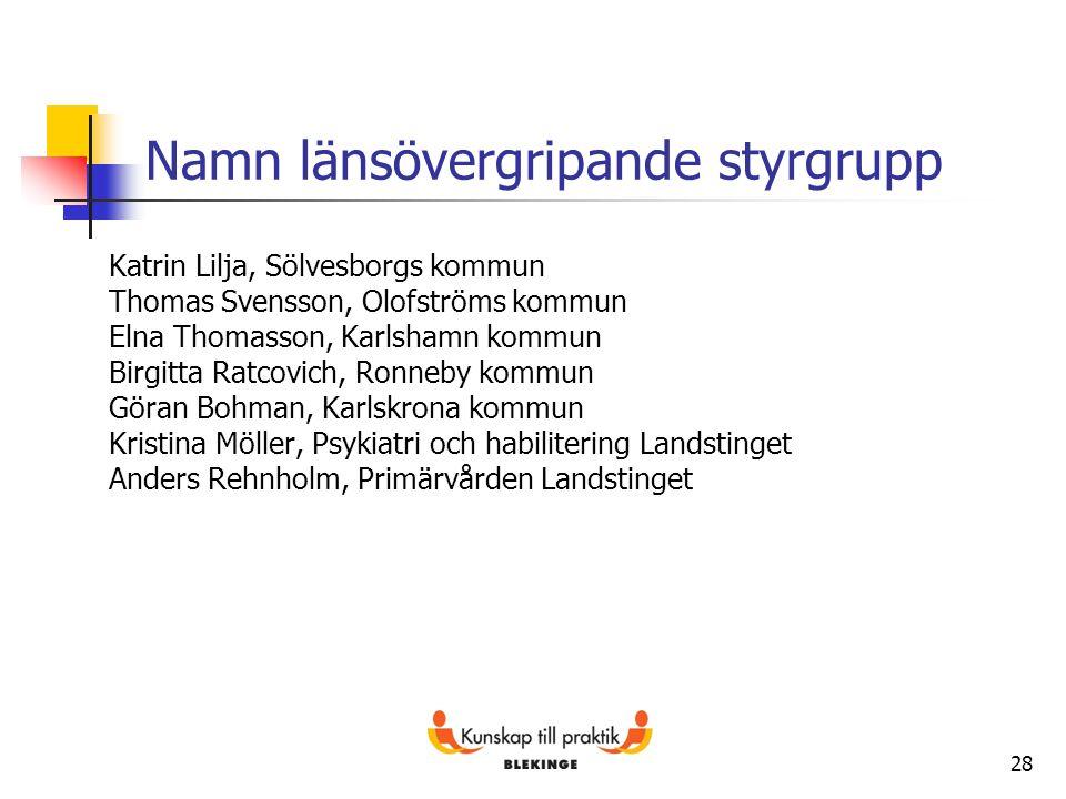 28 Namn länsövergripande styrgrupp Katrin Lilja, Sölvesborgs kommun Thomas Svensson, Olofströms kommun Elna Thomasson, Karlshamn kommun Birgitta Ratco