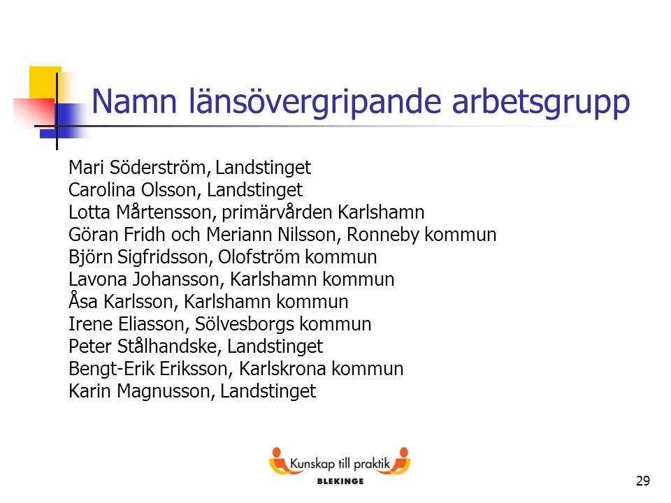 29 Namn länsövergripande arbetsgrupp Mari Söderström, Landstinget Carolina Olsson, Landstinget Lotta Mårtensson, primärvården Karlshamn Göran Fridh oc