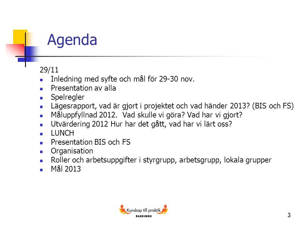 3 Agenda 29/11 Inledning med syfte och mål för 29-30 nov. Presentation av alla Spelregler Lägesrapport, vad är gjort i projektet och vad händer 2013?