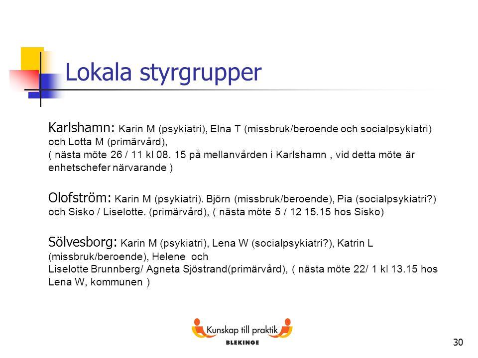 30 Lokala styrgrupper Karlshamn: Karin M (psykiatri), Elna T (missbruk/beroende och socialpsykiatri) och Lotta M (primärvård), ( nästa möte 26 / 11 kl