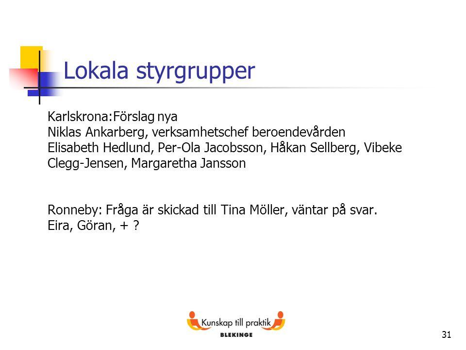 31 Lokala styrgrupper Karlskrona:Förslag nya Niklas Ankarberg, verksamhetschef beroendevården Elisabeth Hedlund, Per-Ola Jacobsson, Håkan Sellberg, Vi