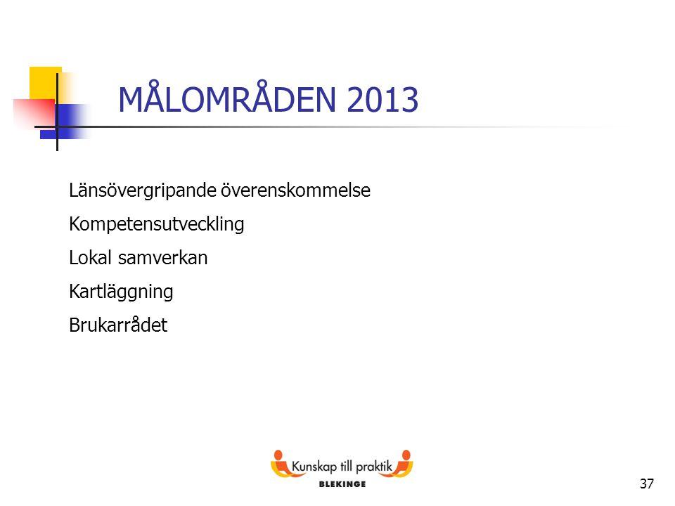 37 MÅLOMRÅDEN 2013 Länsövergripande överenskommelse Kompetensutveckling Lokal samverkan Kartläggning Brukarrådet