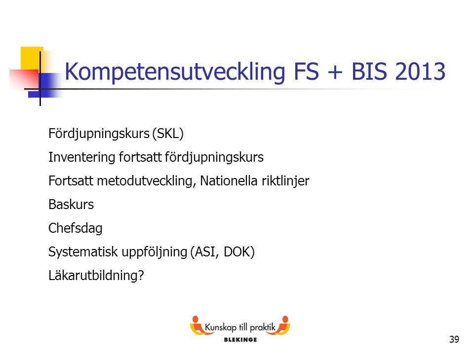 39 Kompetensutveckling FS + BIS 2013 Fördjupningskurs (SKL) Inventering fortsatt fördjupningskurs Fortsatt metodutveckling, Nationella riktlinjer Bask