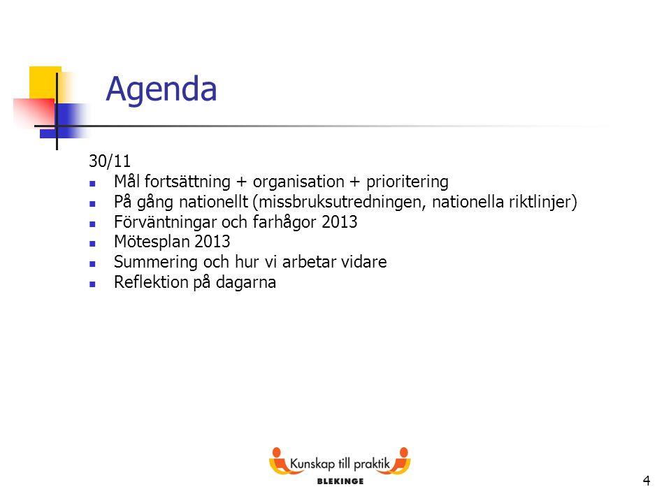4 Agenda 30/11 Mål fortsättning + organisation + prioritering På gång nationellt (missbruksutredningen, nationella riktlinjer) Förväntningar och farhå