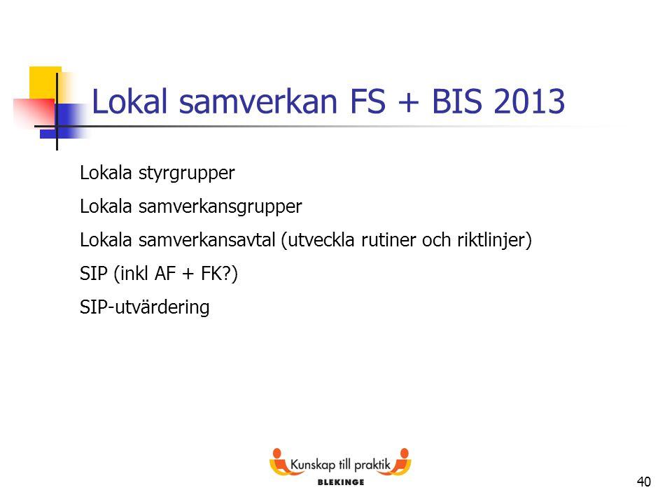 40 Lokal samverkan FS + BIS 2013 Lokala styrgrupper Lokala samverkansgrupper Lokala samverkansavtal (utveckla rutiner och riktlinjer) SIP (inkl AF + F