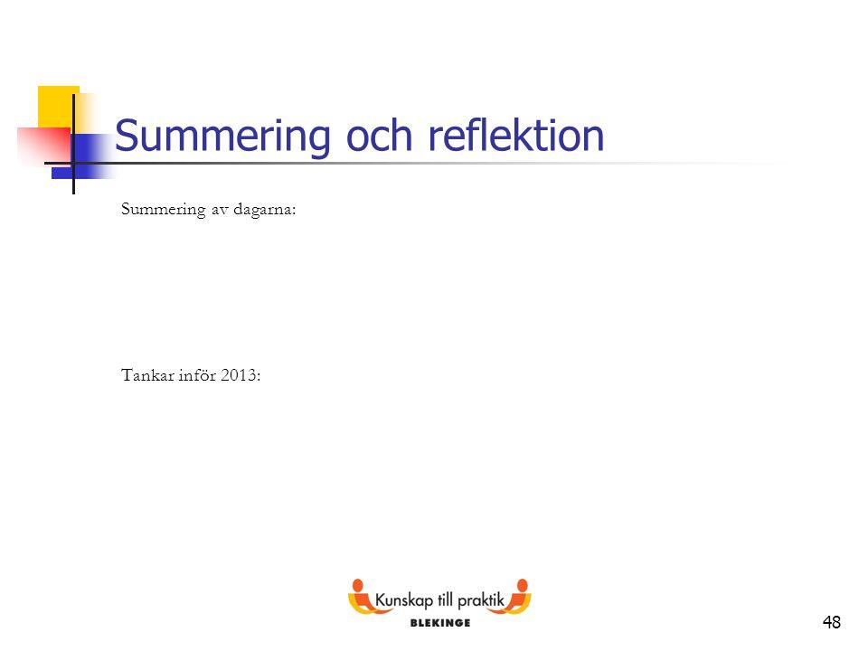48 Summering och reflektion Summering av dagarna: Tankar inför 2013: