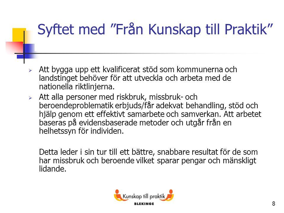 Måluppföljning 2012 11 Nytt mål – finansiering av FINSAM En inventering är genomförd i Blekinge 2013-03-31 av antal personer med missbruk/beroende och samtidig psykisk funktionsnedsättning samt skattning av deras behov av vård och stöd.