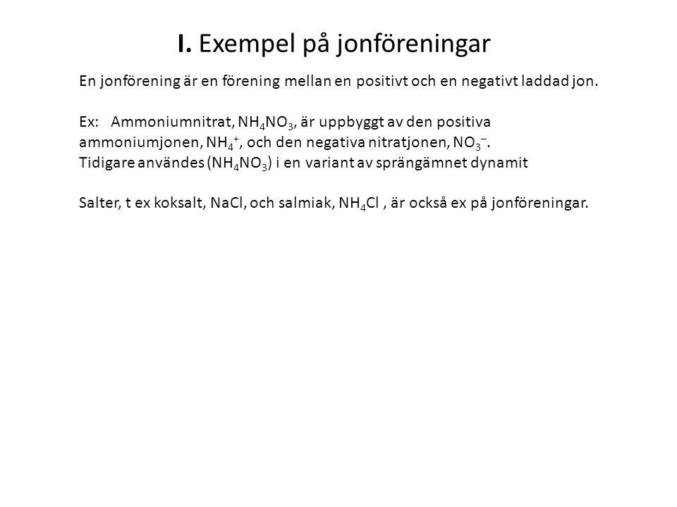 I. Exempel på jonföreningar En jonförening är en förening mellan en positivt och en negativt laddad jon. Ex: Ammoniumnitrat, NH 4 NO 3, är uppbyggt av