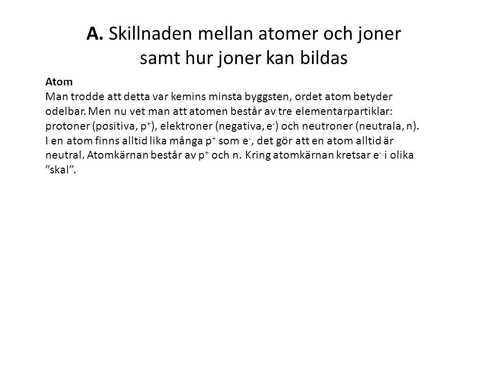 A.Fortsättning Jon Alla atomer strävar efter ädelgasstruktur, dvs att ha fullt yttre skal.