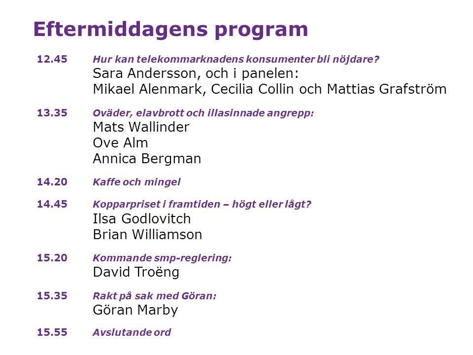 Eftermiddagens program 12.45 Hur kan telekommarknadens konsumenter bli nöjdare? Sara Andersson, och i panelen: Mikael Alenmark, Cecilia Collin och Mat