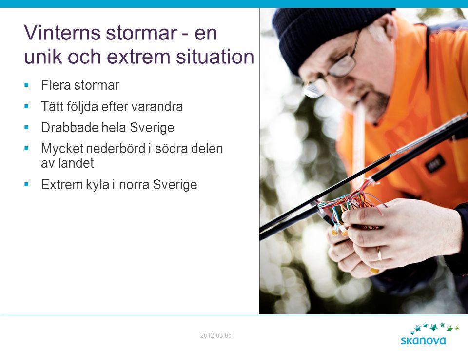 Vinterns stormar - en unik och extrem situation  Flera stormar  Tätt följda efter varandra  Drabbade hela Sverige  Mycket nederbörd i södra delen