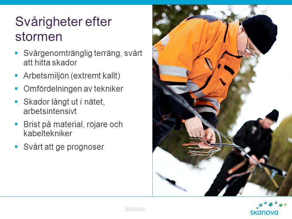 Svårigheter efter stormen  Svårgenomtränglig terräng, svårt att hitta skador  Arbetsmiljön (extremt kallt)  Omfördelningen av tekniker  Skador lån