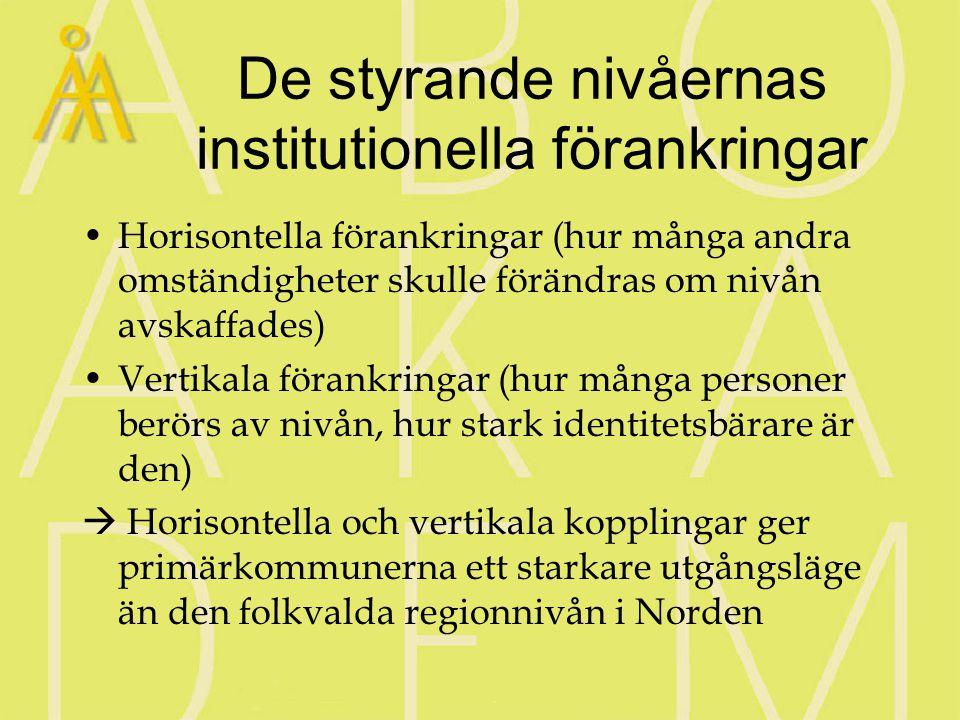 De styrande nivåernas institutionella förankringar Horisontella förankringar (hur många andra omständigheter skulle förändras om nivån avskaffades) Vertikala förankringar (hur många personer berörs av nivån, hur stark identitetsbärare är den)  Horisontella och vertikala kopplingar ger primärkommunerna ett starkare utgångsläge än den folkvalda regionnivån i Norden