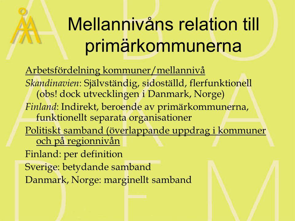 Iakttagelser om nordisk regionalförvaltning 2000 (Sandberg & Ståhlberg: Nordisk regionalförvaltning i förändring) Iakttagelse om utvecklingsriktningen år 2000Iakttagelse om motsättningar som kan ändra utvecklingsriktningen Den ( folkvalda) regionala nivåns position i Norden förstärks Institutionella spänningar mellan regional stat och folkvalda regioner, mellan regioner och kommuner EU, globalisering och internationalisering ger regionerna ökat spelrum Samma processer leder också till krav på skärpt nationell samordning, betoning av enhetsstaten Utvecklingspolitiken får större utrymme i regionernas verksamhet Serviceproduktionen är kvantitativt viktig och starkt förankrad bland befolkning och beslutsfattare Utvecklingspolitiken bygger på samordning av olika verkningsmedel (utbildning, planering etc.) Den sektoriserade staten försvårar samordningen Ökad samordning mellan primärkommuner och regioner till följd av nya mekanismer (tillväxtavtal, flexibel uppgiftslösning) Städernas Norden – större kommuner har kapacitet att driva frågor själv Den regionala demokratin kräver utvidgat demokratibegrepp Uppfattningar om bristande demokratisk legitimitet hos regionnivån