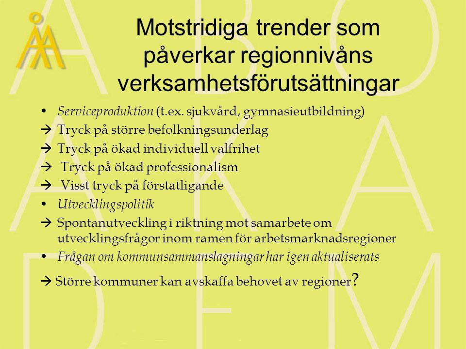 Nivån mellan kommuner och regioner Generell trend i Norden att det uppstår spontanorganisering kring arbetsmarknadsregionerna/regionkommunerna (NUTS4) I Finland siktar den statliga politiken på att stärka regionkommunerna, övervägs också i Norge Mellanmellannivåns position oklar  Lösa eller fasta samarbetsstrukturer.