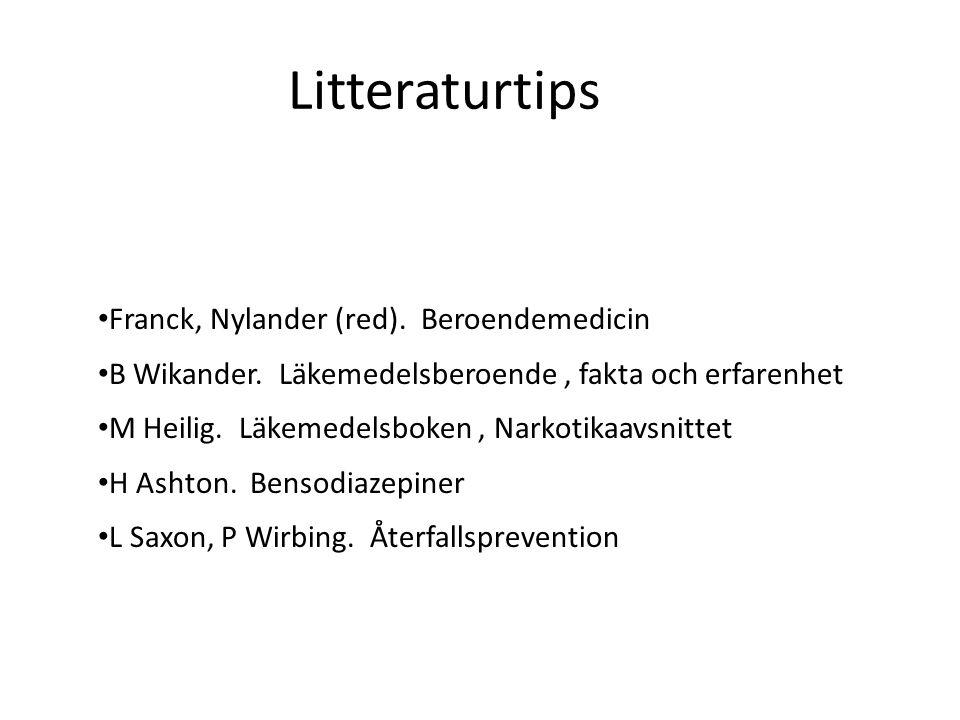 Litteraturtips Franck, Nylander (red).Beroendemedicin B Wikander.