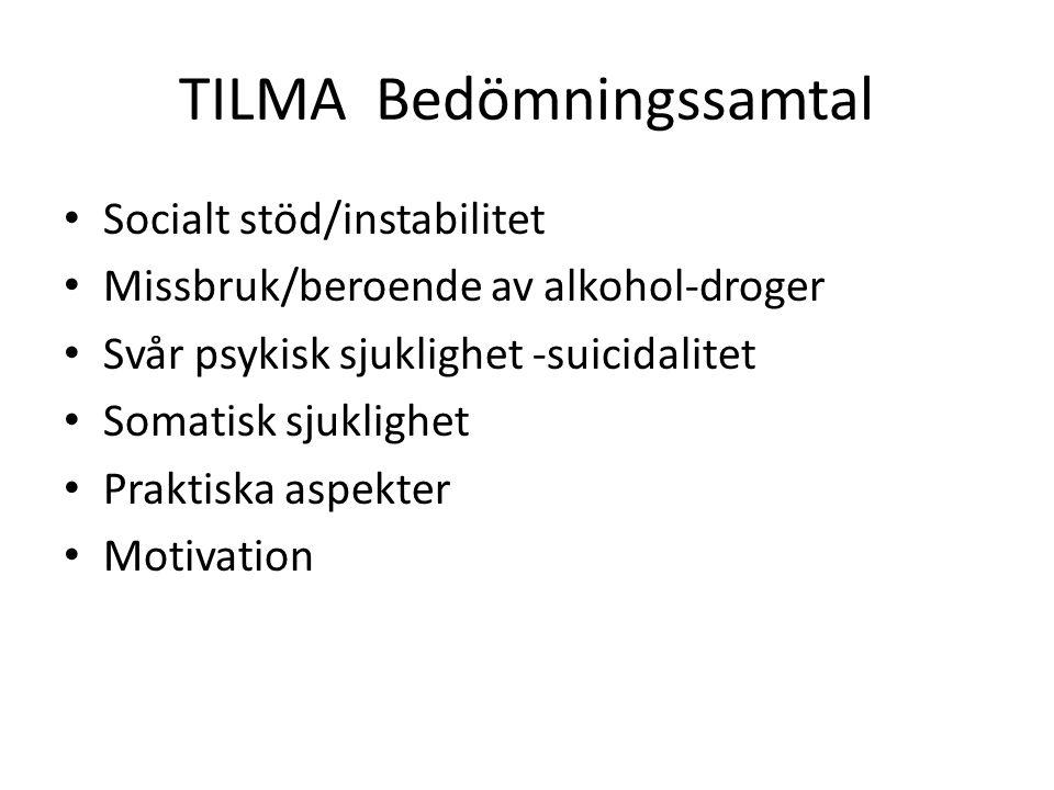 TILMA Bedömningssamtal Socialt stöd/instabilitet Missbruk/beroende av alkohol-droger Svår psykisk sjuklighet -suicidalitet Somatisk sjuklighet Praktiska aspekter Motivation