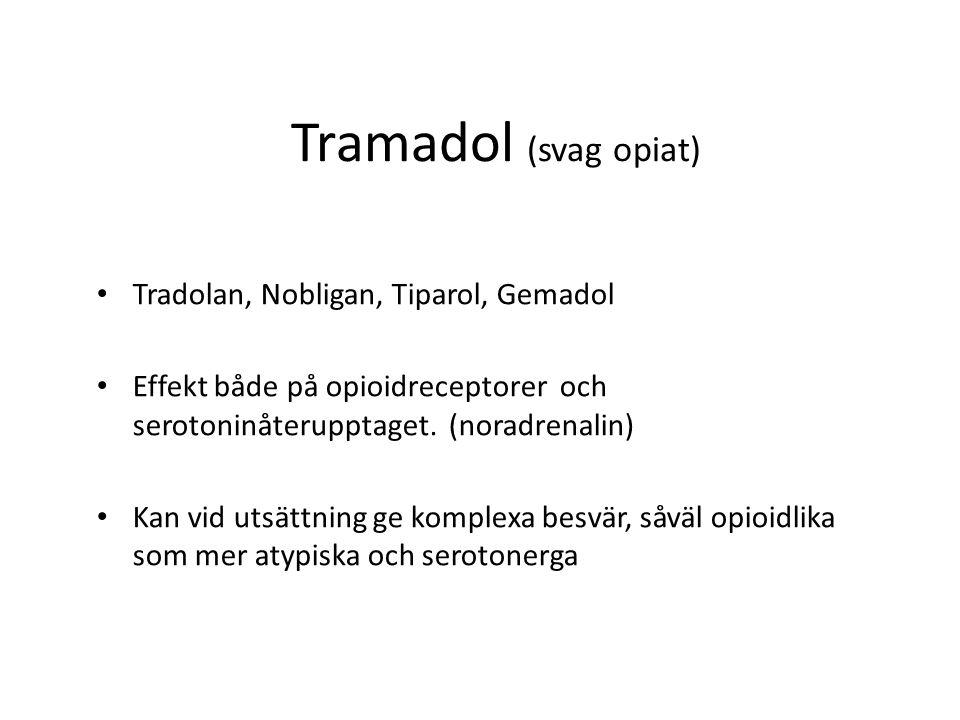 Tramadol (svag opiat) Tradolan, Nobligan, Tiparol, Gemadol Effekt både på opioidreceptorer och serotoninåterupptaget.