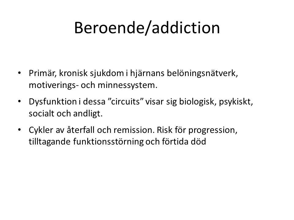 Beroende/addiction Primär, kronisk sjukdom i hjärnans belöningsnätverk, motiverings- och minnessystem.