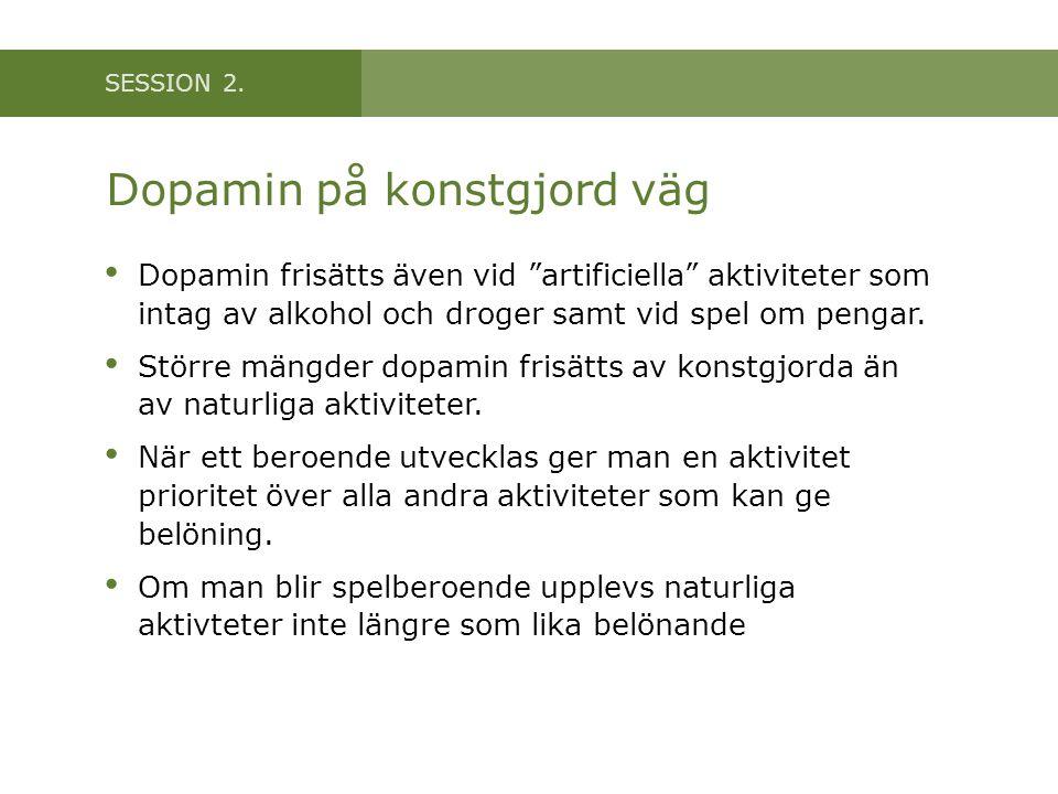"""SESSION 2. Dopamin på konstgjord väg Dopamin frisätts även vid """"artificiella"""" aktiviteter som intag av alkohol och droger samt vid spel om pengar. Stö"""