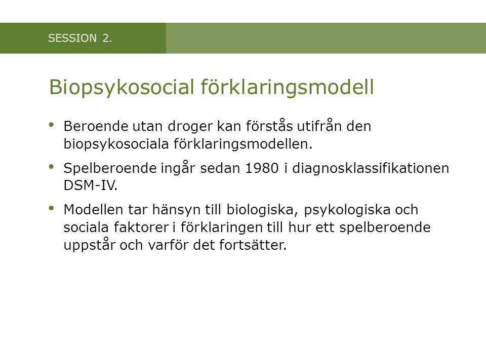 SESSION 2. Biopsykosocial förklaringsmodell Beroende utan droger kan förstås utifrån den biopsykosociala förklaringsmodellen. Spelberoende ingår sedan