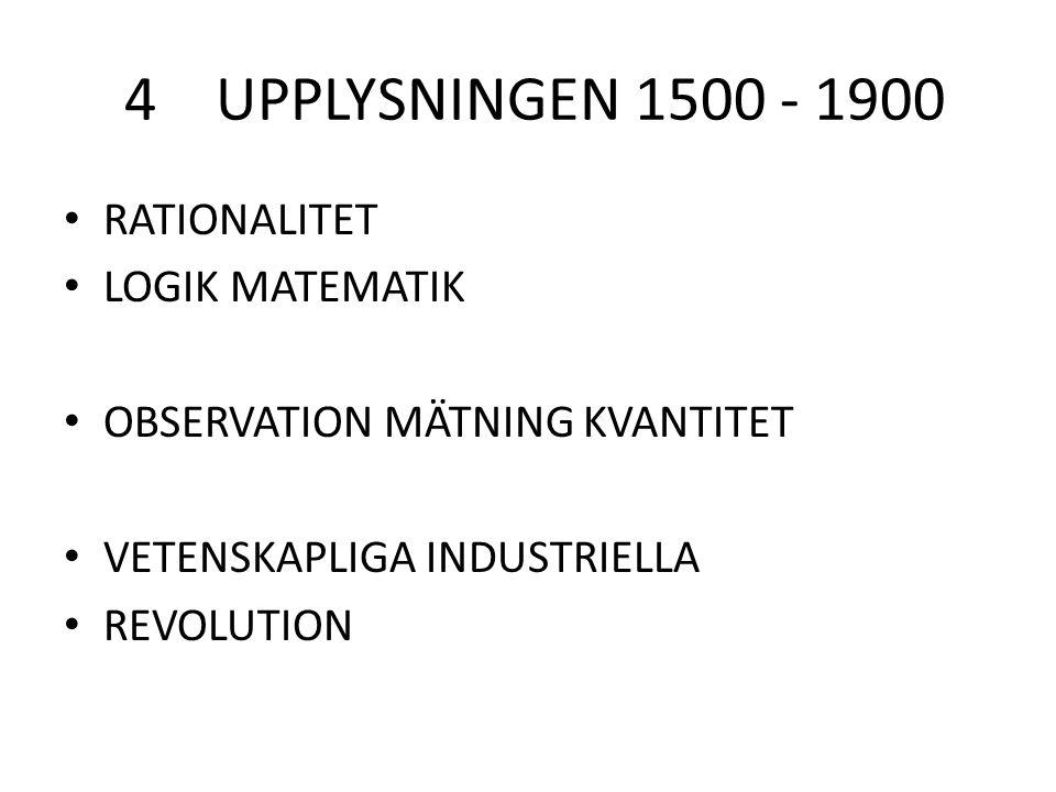 4 UPPLYSNINGEN 1500 - 1900 RATIONALITET LOGIK MATEMATIK OBSERVATION MÄTNING KVANTITET VETENSKAPLIGA INDUSTRIELLA REVOLUTION