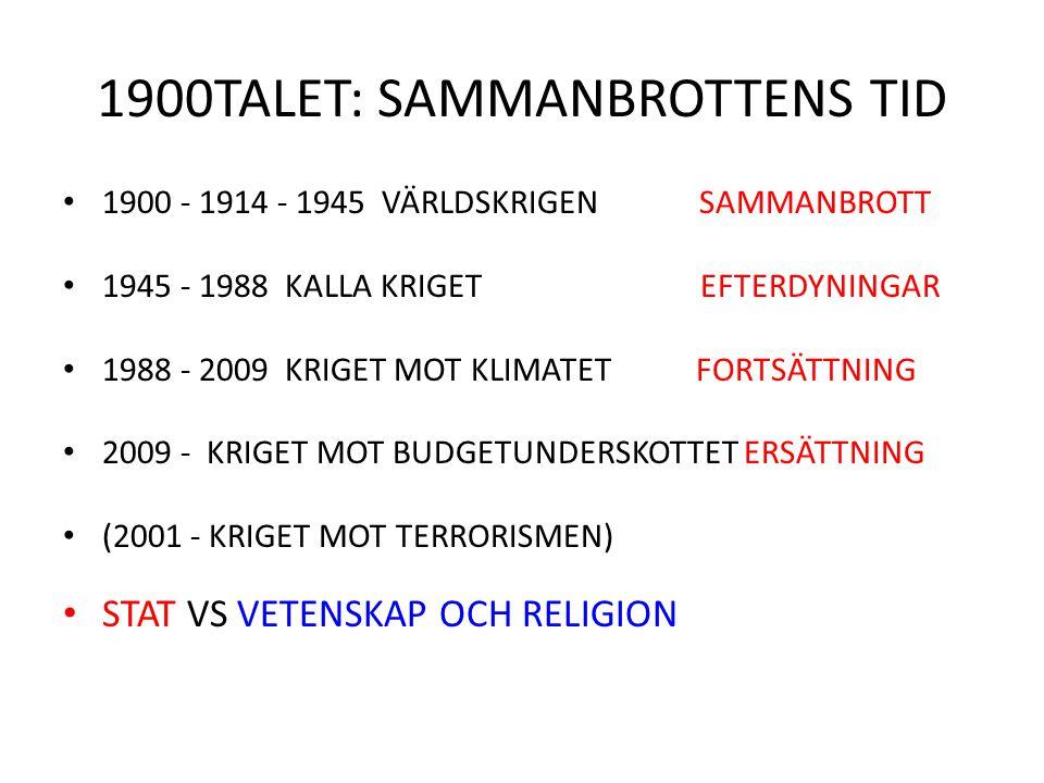 1900TALET: SAMMANBROTTENS TID 1900 - 1914 - 1945 VÄRLDSKRIGEN SAMMANBROTT 1945 - 1988 KALLA KRIGET EFTERDYNINGAR 1988 - 2009 KRIGET MOT KLIMATET FORTS