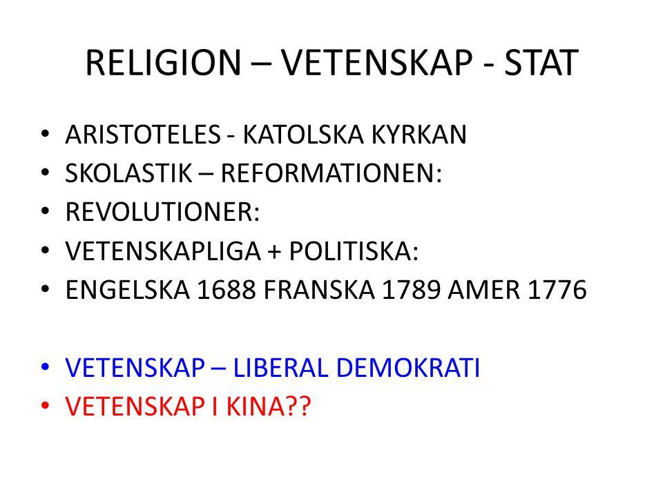 RELIGION – VETENSKAP - STAT ARISTOTELES - KATOLSKA KYRKAN SKOLASTIK – REFORMATIONEN: REVOLUTIONER: VETENSKAPLIGA + POLITISKA: ENGELSKA 1688 FRANSKA 17