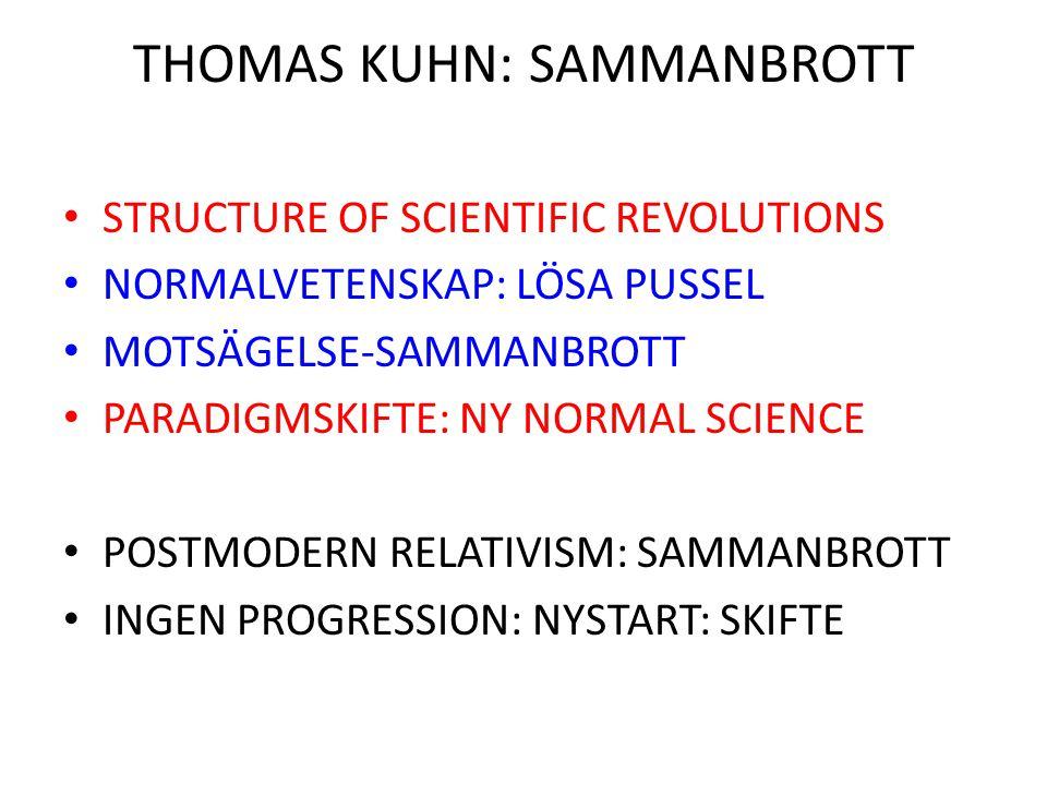 THOMAS KUHN: SAMMANBROTT STRUCTURE OF SCIENTIFIC REVOLUTIONS NORMALVETENSKAP: LÖSA PUSSEL MOTSÄGELSE-SAMMANBROTT PARADIGMSKIFTE: NY NORMAL SCIENCE POS