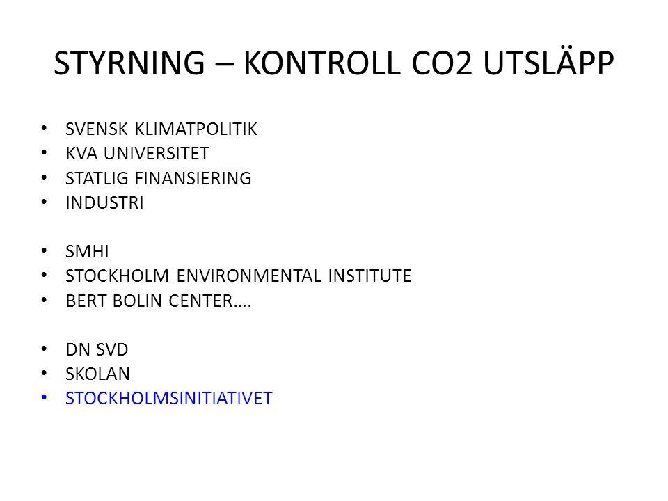 STYRNING – KONTROLL CO2 UTSLÄPP SVENSK KLIMATPOLITIK KVA UNIVERSITET STATLIG FINANSIERING INDUSTRI SMHI STOCKHOLM ENVIRONMENTAL INSTITUTE BERT BOLIN C