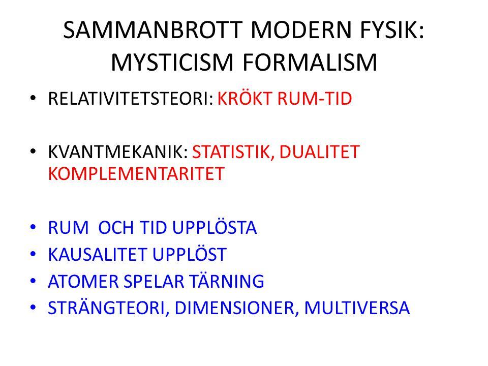 SAMMANBROTT MODERN FYSIK: MYSTICISM FORMALISM RELATIVITETSTEORI: KRÖKT RUM-TID KVANTMEKANIK: STATISTIK, DUALITET KOMPLEMENTARITET RUM OCH TID UPPLÖSTA