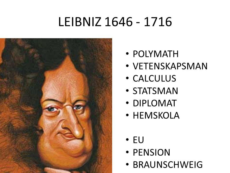 LEIBNIZ 1646 - 1716 POLYMATH VETENSKAPSMAN CALCULUS STATSMAN DIPLOMAT HEMSKOLA EU PENSION BRAUNSCHWEIG HANNOVER