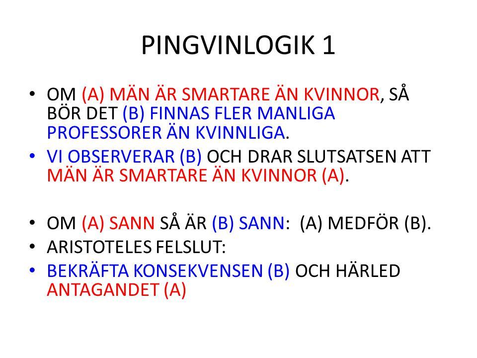 PINGVINLOGIK 1 OM (A) MÄN ÄR SMARTARE ÄN KVINNOR, SÅ BÖR DET (B) FINNAS FLER MANLIGA PROFESSORER ÄN KVINNLIGA. VI OBSERVERAR (B) OCH DRAR SLUTSATSEN A