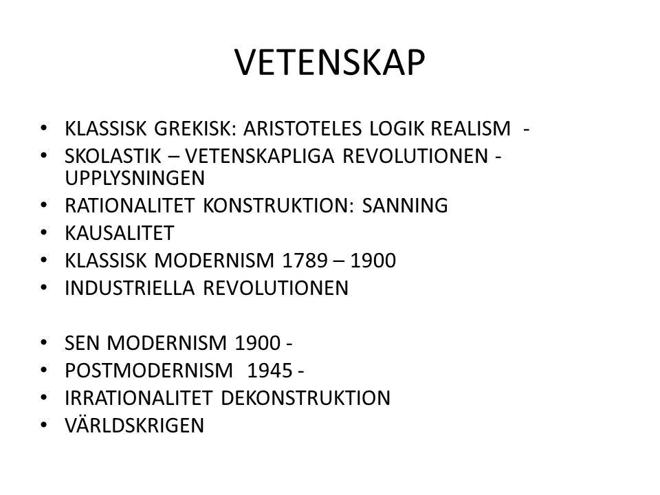 VETENSKAP KLASSISK GREKISK: ARISTOTELES LOGIK REALISM - SKOLASTIK – VETENSKAPLIGA REVOLUTIONEN - UPPLYSNINGEN RATIONALITET KONSTRUKTION: SANNING KAUSA