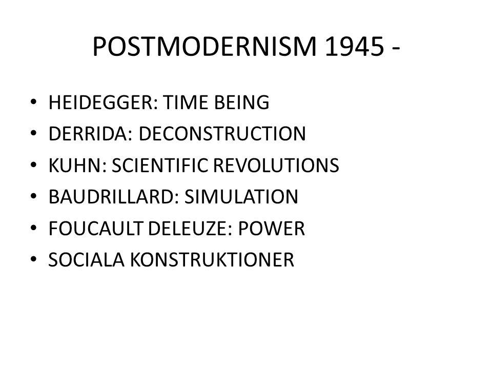 POSTMODERNISM 1945 - HEIDEGGER: TIME BEING DERRIDA: DECONSTRUCTION KUHN: SCIENTIFIC REVOLUTIONS BAUDRILLARD: SIMULATION FOUCAULT DELEUZE: POWER SOCIAL