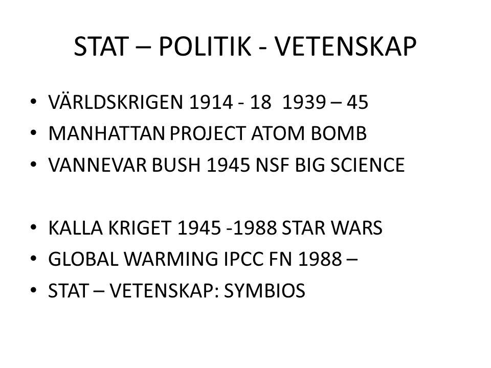 STAT – POLITIK - VETENSKAP VÄRLDSKRIGEN 1914 - 18 1939 – 45 MANHATTAN PROJECT ATOM BOMB VANNEVAR BUSH 1945 NSF BIG SCIENCE KALLA KRIGET 1945 -1988 STA