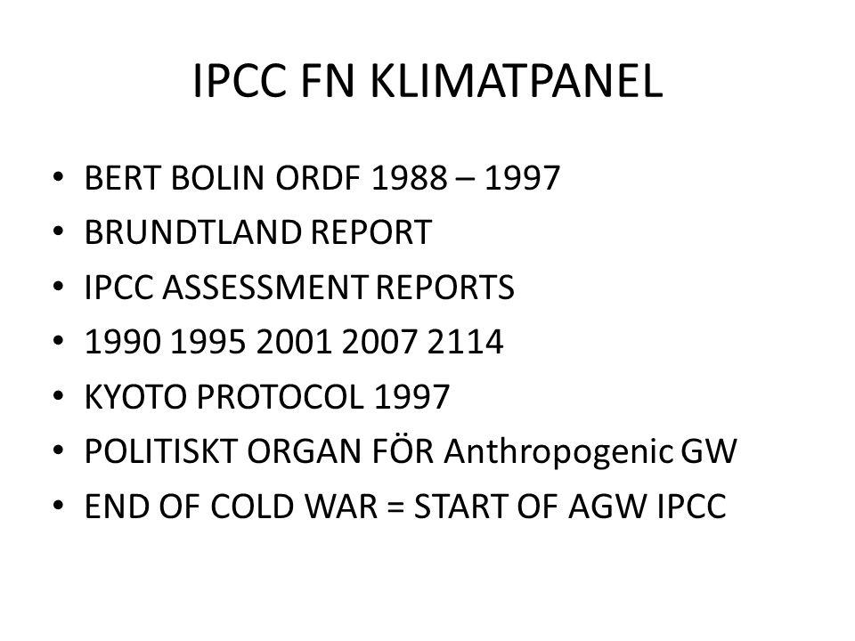 IPCC FN KLIMATPANEL BERT BOLIN ORDF 1988 – 1997 BRUNDTLAND REPORT IPCC ASSESSMENT REPORTS 1990 1995 2001 2007 2114 KYOTO PROTOCOL 1997 POLITISKT ORGAN