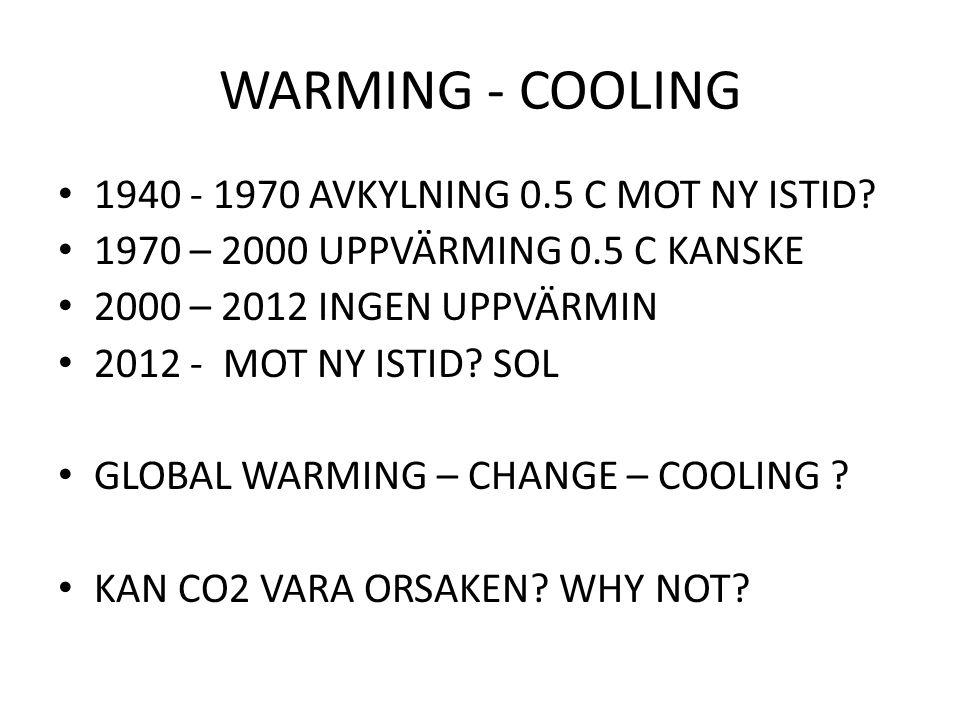 WARMING - COOLING 1940 - 1970 AVKYLNING 0.5 C MOT NY ISTID? 1970 – 2000 UPPVÄRMING 0.5 C KANSKE 2000 – 2012 INGEN UPPVÄRMIN 2012 - MOT NY ISTID? SOL G