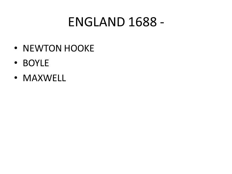 ENGLAND 1688 - NEWTON HOOKE BOYLE MAXWELL