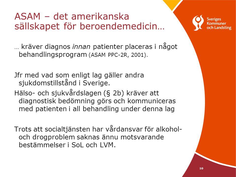 10 ASAM – det amerikanska sällskapet för beroendemedicin… … kräver diagnos innan patienter placeras i något behandlingsprogram (ASAM PPC-2R, 2001).